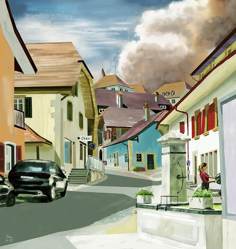 Kay, Erlach - es kommt, Interiors: Villages, Poetry, Contemporary Art, Expressionism