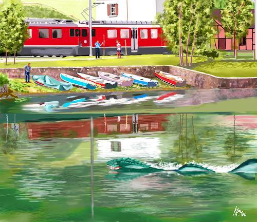 Kay, Aufregung in Miralago, Landscapes: Sea/Ocean, Fantasy, Contemporary Art