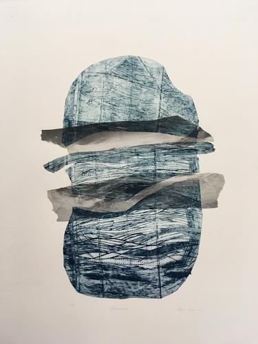 Sabine Müller, Landschaft am Wasser, Landscapes, Abstract art, Non-Objectivism [Informel]