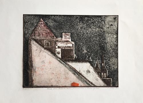 Sabine Müller, Blick auf Hussitenturm,Kunstturm und Roten Spitzen, Miscellaneous Buildings, Realism