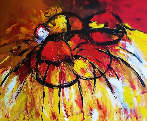 Gerhard Winkler, Käfer auf Blume, Abstract art, Abstract art, Action Painting