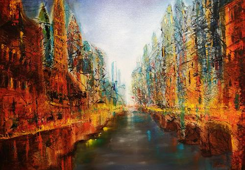 Gerhard Winkler, Stadt am Fluss, Landscapes, Abstract art, Abstract Art, Abstract Expressionism