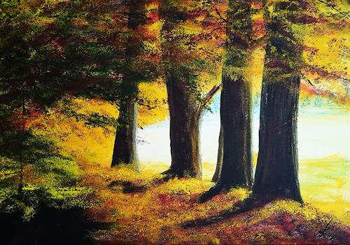 Gerhard Winkler, Herbstwald, Landscapes: Autumn, Landscapes: Autumn, Action Painting, Expressionism