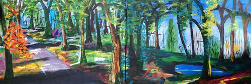 Gerhard Winkler, DerWald, Landscapes: Summer, Abstract art, Action Painting