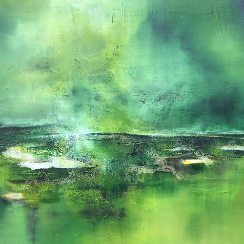 Christiane Mohr, Grüne Insel, Landscapes: Sea/Ocean, Landscapes: Plains, Abstract Art, Expressionism
