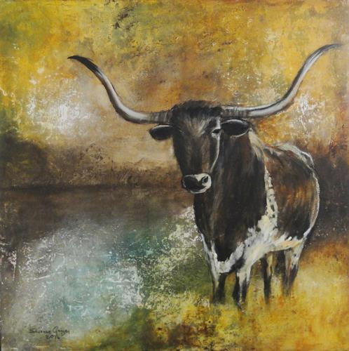 Susanne Geyer, Longhorn, Animals: Land, Landscapes, New Figurative Art, Expressionism