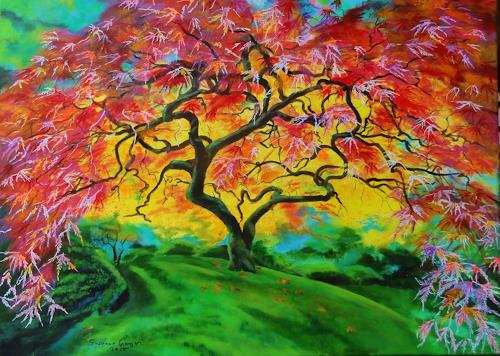 Susanne Geyer, Japanese Maple, Landscapes: Autumn, Nature, Naturalism, Expressionism