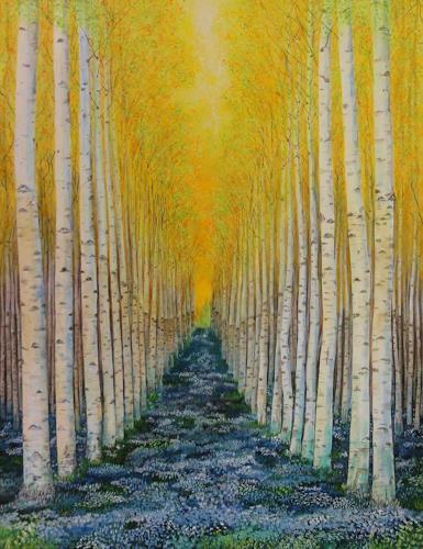 Susanne Geyer, Frühling, Landscapes: Spring, Nature: Wood, Contemporary Art, Expressionism