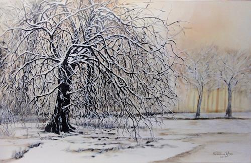 Susanne Geyer, Winter im Park, Landscapes: Winter, Plants: Trees, Contemporary Art, Expressionism