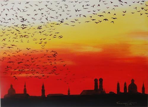 Susanne Geyer, Abflug, Animals: Air, Landscapes: Autumn, Contemporary Art