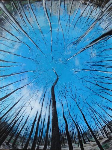 Susanne Geyer, Nach einem Foto von Jens Knappe, Plants: Trees, Nature: Wood, Contemporary Art, Abstract Expressionism