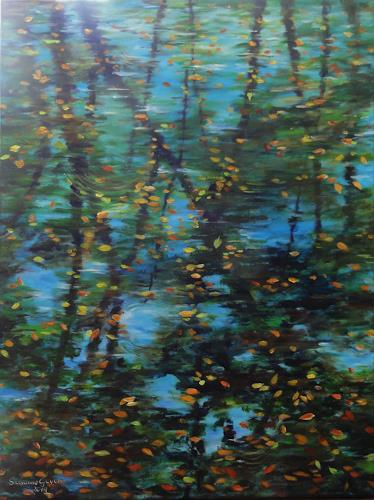 Susanne Geyer, Spiegelung, Nature: Water, Plants: Trees, Contemporary Art, Expressionism
