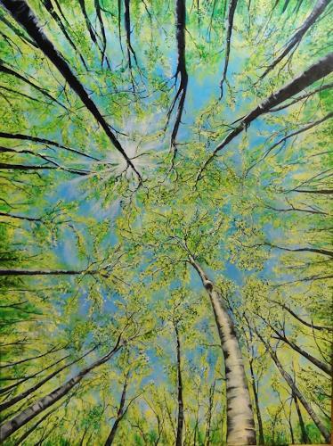 Susanne Geyer, Baumkronen im Frühling, Plants: Trees, Times: Spring, Contemporary Art