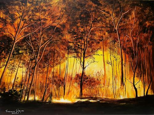 Susanne Geyer, Forest fire, Nature: Fire, Nature: Wood, Contemporary Art, Expressionism