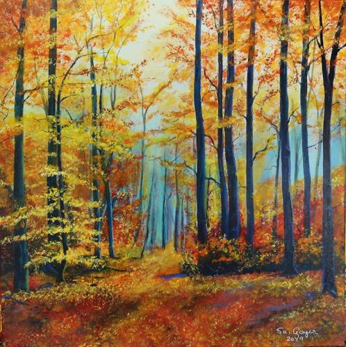 Susanne Geyer, Herbstwald, Landscapes: Autumn, Nature: Wood, Contemporary Art