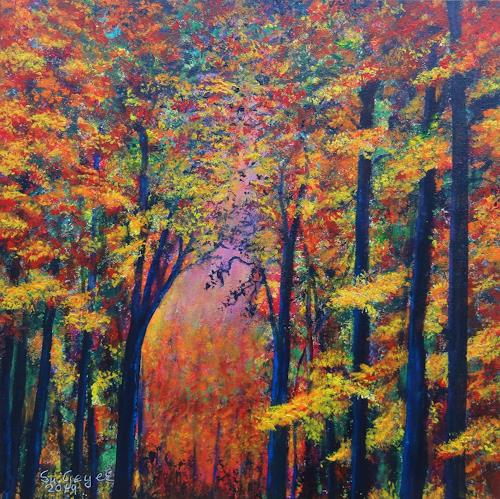 Susanne Geyer, Herbstimpression, Landscapes: Autumn, Nature: Wood, Contemporary Art, Expressionism