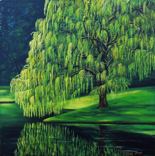 Susanne Geyer, Weeping Willow, Landscapes: Summer, Plants: Trees, Contemporary Art