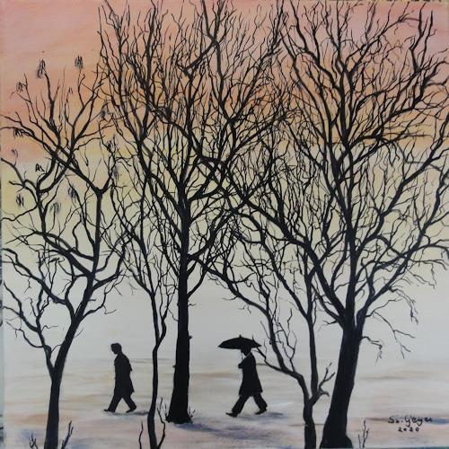 Susanne Geyer, rainy day, Miscellaneous People, Landscapes: Winter, Contemporary Art, Expressionism