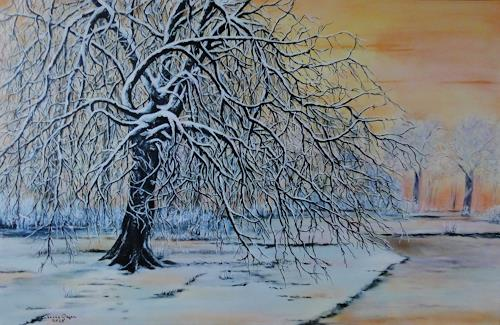 Susanne Geyer, Winter im Park am Morgen, Landscapes: Winter, Plants: Trees, Contemporary Art, Expressionism