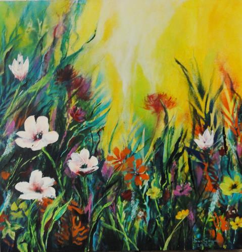 Susanne Geyer, Wildflowers 3, Plants: Flowers, Landscapes: Summer, Contemporary Art, Expressionism