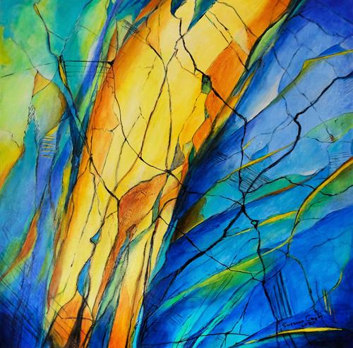 Susanne Geyer, Into a stone, Abstract art, Nature: Rock, Contemporary Art, Expressionism