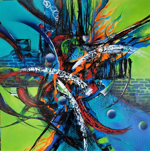 Susanne Geyer, save this world 2, Abstract art, Emotions: Fear, Contemporary Art