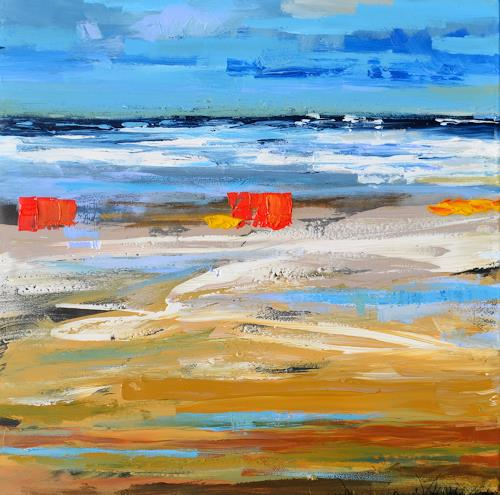 wim van de wege, Bunten Strand Domburg, Leisure, Landscapes: Sea/Ocean, Abstract Expressionism, Expressionism