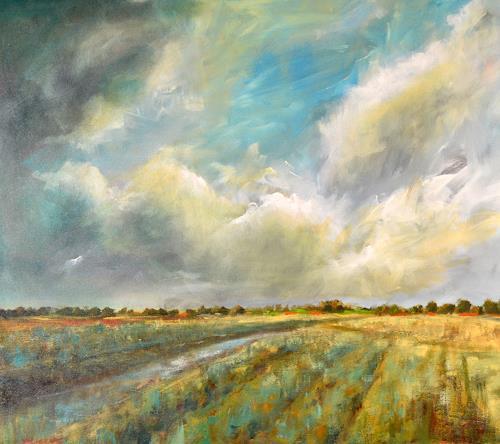 wim van de wege, Polder Ellewoutsdijk, Landscapes: Autumn, Landscapes: Winter, Impressionism, Expressionism