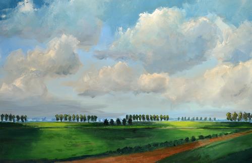 wim van de wege, Beveland in Licht und Schatten, Landscapes, Landscapes: Autumn, Impressionism