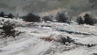 wim van de wege, Snowy landscape Yorkshire oil painting 2