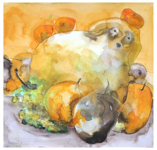 Victor Koch, Herbsthund im Obst, Animals: Land, Harvest, Contemporary Art, Abstract Expressionism
