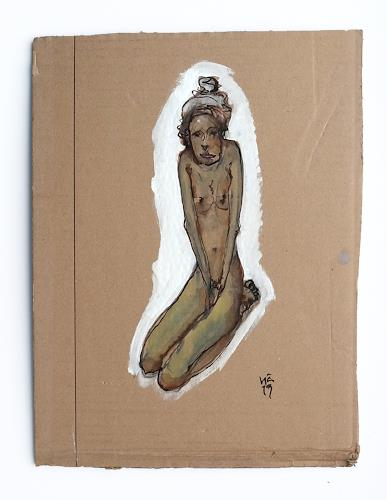 Victor Koch, Warten auf Juni, Erotic motifs: Female nudes, Times: Winter, Contemporary Art, Abstract Expressionism