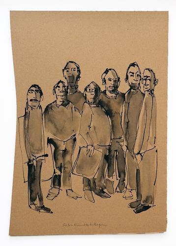 Victor Koch, Sieben Künstlerkollegen, People: Group, Miscellaneous Emotions, Contemporary Art