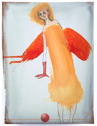 Victor Koch, Schutzengeline des flach gehaltenen Balls, People: Women, Mythology, Contemporary Art, Abstract Expressionism