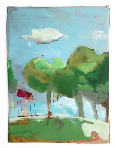 Victor Koch, Dann eben nicht (Dachdeckel, nicht erfolgreich), Miscellaneous Landscapes, Architecture, Contemporary Art, Expressionism