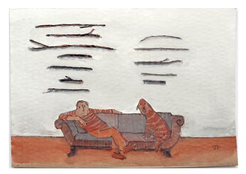 Victor Koch, Der Künstler gewinnt beim Stöckchensammelwettbewerb, People: Men, Animals: Land, Contemporary Art