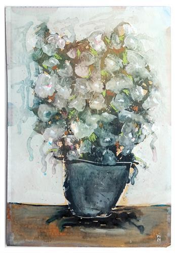 Victor Koch, Weiße Blumen in Erde, Plants: Flowers, Emotions: Joy, Contemporary Art