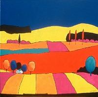 Albert Weber, Landschaft mit blauem Himmel