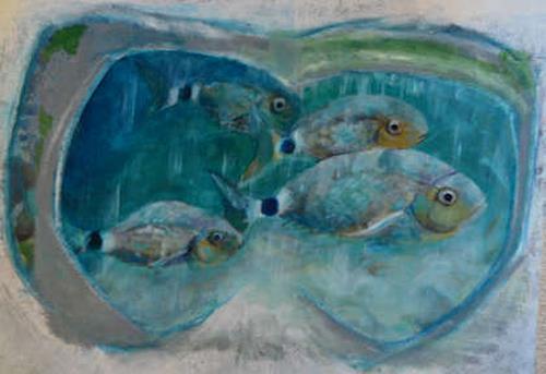 Edna Rasch, Meine Taucherbrille erinnert sich, Nature: Water, Animals: Water, New Figurative Art, Expressionism