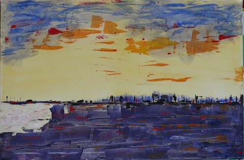 Veronika Ulrich, Stadt am Hafen, Landscapes: Sea/Ocean, Nature: Water, Abstract Expressionism