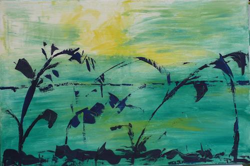 Veronika Ulrich, Abendstimmung, Landscapes: Sea/Ocean, Romantic motifs: Sunset, Abstract Expressionism