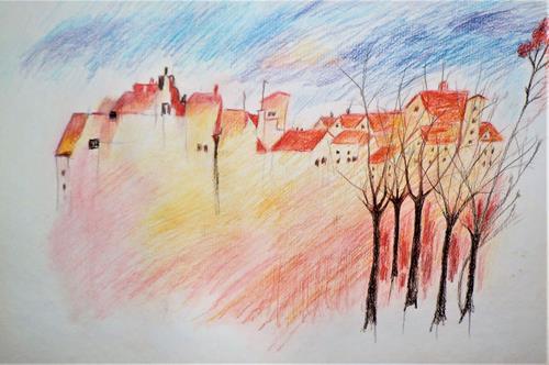 Veronika Ulrich, Dorfansicht, Miscellaneous Landscapes, Miscellaneous, Expressive Realism