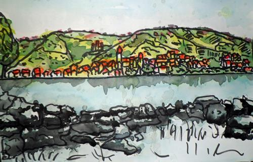 Veronika Ulrich, Sehnsucht 2, Nature: Water, Landscapes: Mountains, Expressive Realism
