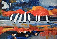 Veronika-Ulrich-Sports-Landscapes-Sea-Ocean-Modern-Age-Expressionism-Abstract-Expressionism
