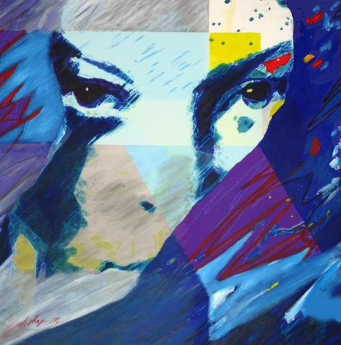 Santo Mazza, Deep Blue, People: Women, Abstract art, Expressive Realism