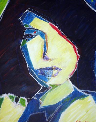 Santo Mazza, Kubistisch, People: Women, Abstract art, Expressive Realism
