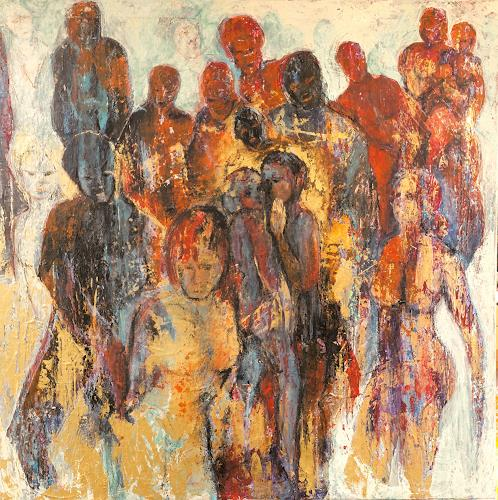 Wally Leiking, Stadtgespräch, People, Emotions, Contemporary Art, Abstract Expressionism