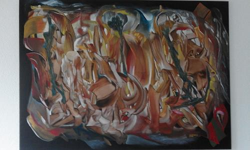 Heinz Kilchenmann, Drei Wurzeln im Gestein, Fantasy, Abstract Expressionism
