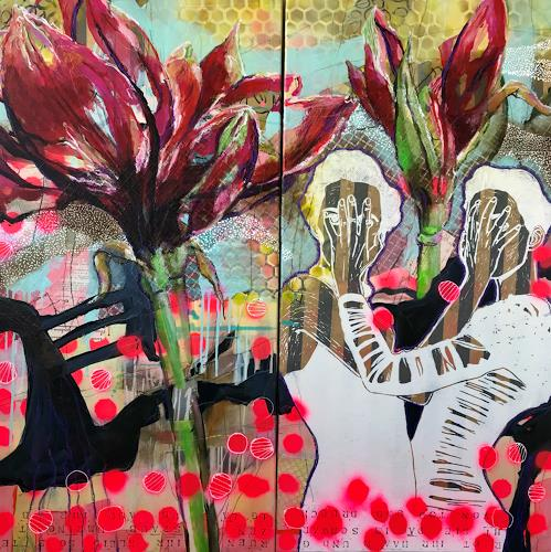 Marita Tobner, High Society (Diptychon), People: Women, Plants: Flowers, Concrete Art, Abstract Expressionism