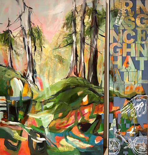 Marita Tobner, Lang hallt der Schall am Hang entlang, Landscapes, Landscapes: Mountains, Expressive Realism, Abstract Expressionism